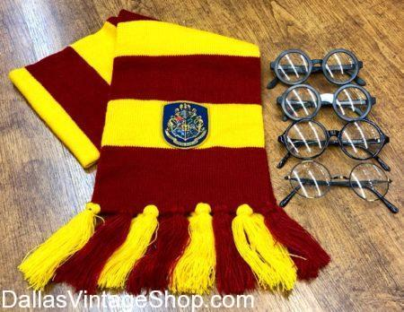 Harry Potter Glasses and Yellow and Red Gryffindor Scarf