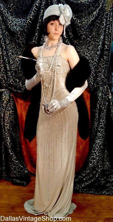 Look at these 1920's Style Long Beaded Gala Gowns, 1920's Gowns, 1920's Ladies Attire, 1920's Costumes, 1920's Long Gowns shown here. Get these 1920's Gala Gowns, 1920's Gala Dresses, 1920's Ritzy Attire. We have many 1920's Supreme Quality Dresses, 1920's Ball Gowns, 1920's Aristocrat Attire, 1920's Socialite Beaded Dresses in stock.