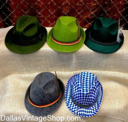 Alpine Hats, German Alpine Hats for German Fest, German Hats, Oktoberfest Hats, Oktoberfest Party Hats
