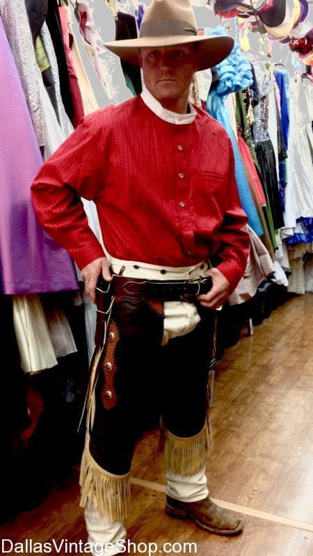 Real Cowboy Outfits, Real Leather Cowboy Chaps, Chinks, Vests & Hats, Old West Gun Belts, Cowboy Slickers, real Cowboy Long Coats at Dallas Vintage Shop.