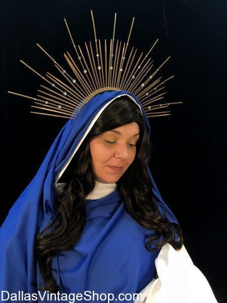 Get this Virgin Mary Costume Halo & Met Gala Heavenly Bodies Crown Headpieces. , We have Bible Character Halos, Biblical Paintings Saints Halos, Elaborate Halos Met Gala, Virgin Mary Aura Halo, Bible Saints Aura Halos for purchase at Dallas Vintage Shop.