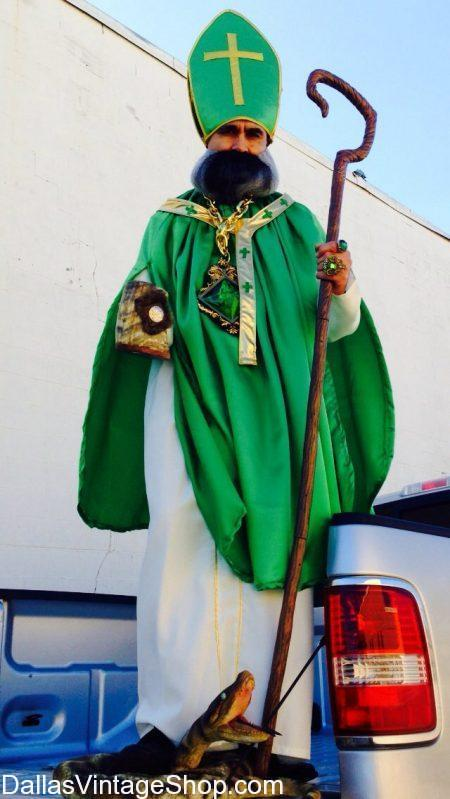 Look at this Gorgous St. Patrick Bishop Costume in Green Satin, Gold and White Bishop Attire.