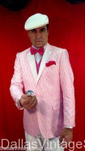 Valentine's Day Men's Outfits including Valentine's Pink, Red or White Dress Coats, Suits, Vests, Ties and Suits.