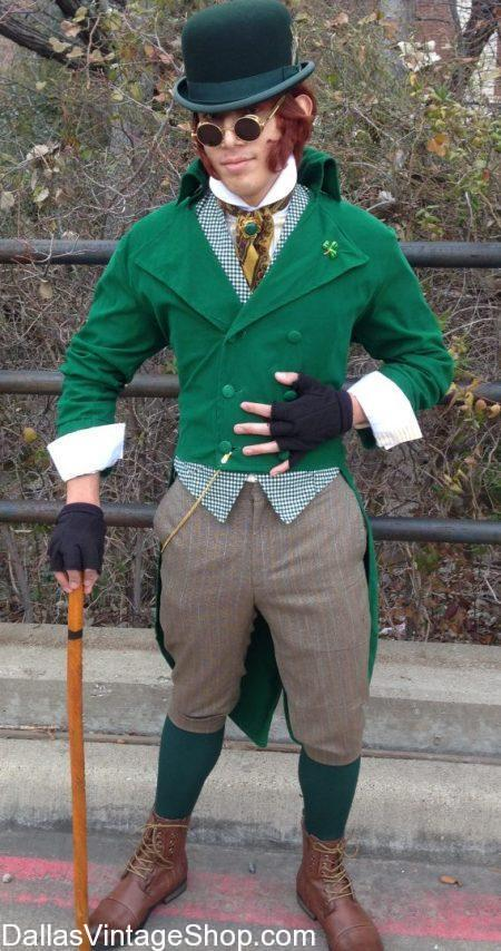 This Irish Leprechuan is one example of the St Patrick's Day Men's Costumes we keep in stock. Notice the details of our Saint Patrick's Day Festive Attire. Our St. Patty's Day Costumes are the best in Dallas. We have racks of St. Patrick's Day Men's Costumes, St. Patrick's Day Men's Hats, St. Patrick's Day Theatrical Costumes, St. Patrick's Day Costumes, St. Patrick's Day Leprechaun Costumes, St. Patrick's Day Men's Attire, St. Patrick's Day Irish Costumes, St. Patrick's Day Costume Shops, St. Patrick's Day Costume  Ideas, Patrick's Day Beards, Patrick's Day Wigs, Patrick's Day Hats, Patrick's Day Men's Suits and Accessories in stock.