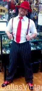 Valentine's Day Gentleman's Attire, Shown Here includes, Red valentine's Day Fedora, Red Suspenders, Red Tie and Red and Black Shoes for Valentine's Day Special Ocassion Attire.