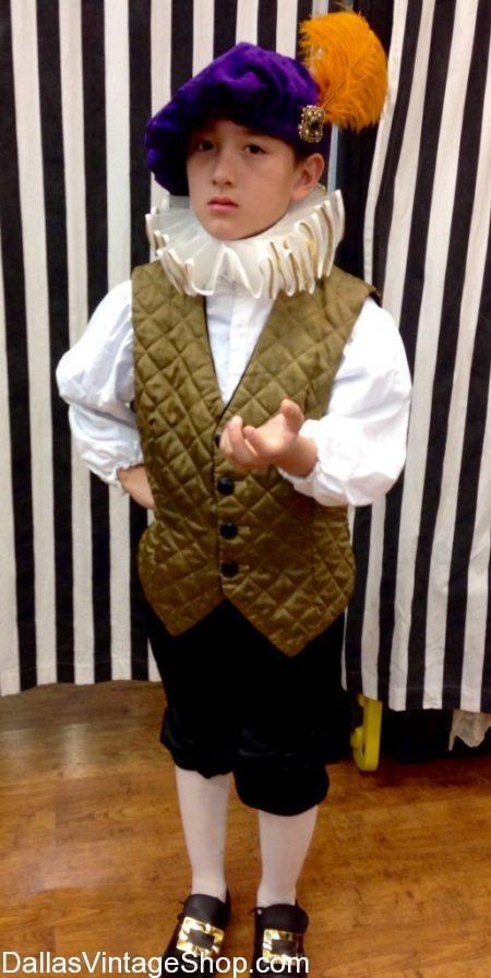 Just look at this amazing sample of our Child Theatrical Costumes. We have this Renaissance Kids Squire Outfit and Kids Theatrical Costumes for any decade or any century.