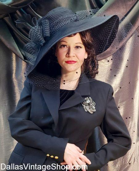 Find Golden Age Hollywood Hats, Hollywood Loretta Young Inspired Hat, Vintage Hollywood Hat recreations for Mad Hatter's Ball at the Dallas Arboretum.