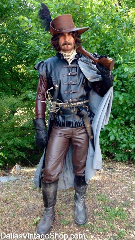 Renaissance Festival Musketeers, like this Athos Ren Fest Musketeer Outfit, shown here is available at Dallas Vintage Shop. Get any Renaissance Period Costumes imaginable here.