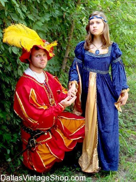 This Image or Romeo & Juliet, shows one example of the Renaissance Couples Costumes we keep in stock at Dallas Vintage Shop.