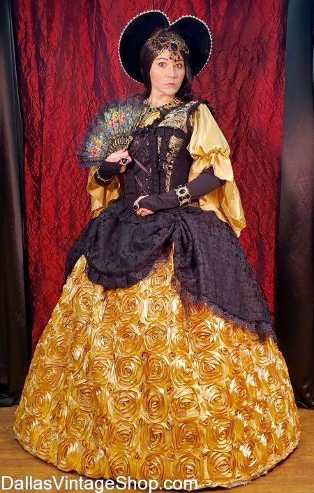 Largest Renaissance Festival Attire Collection in DFW, Renaissance Period Costumes, Renaissance Theatrical Costumes & Wardrobes in stock.