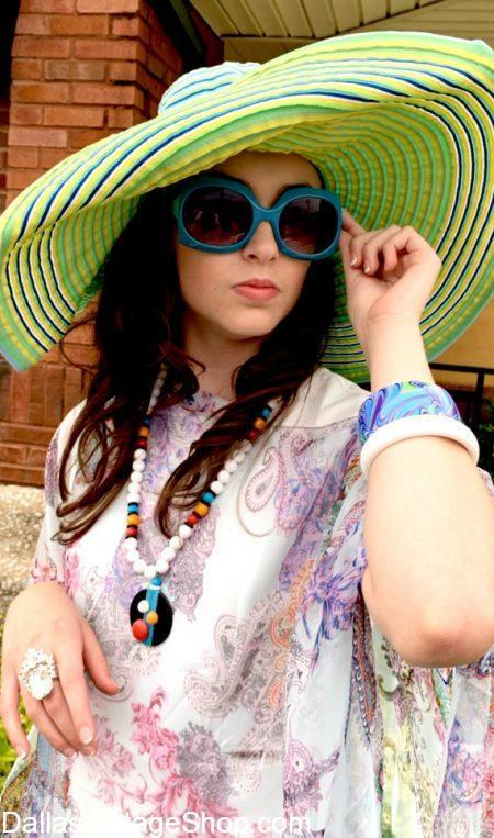 Pool Party Hats, Sun Hats, Large Brim Sun Hats, Floppy Pool Hats, Fashionable Sun Hats, Tropical Sun Hats are in stock at Dallas Vintage Shop.