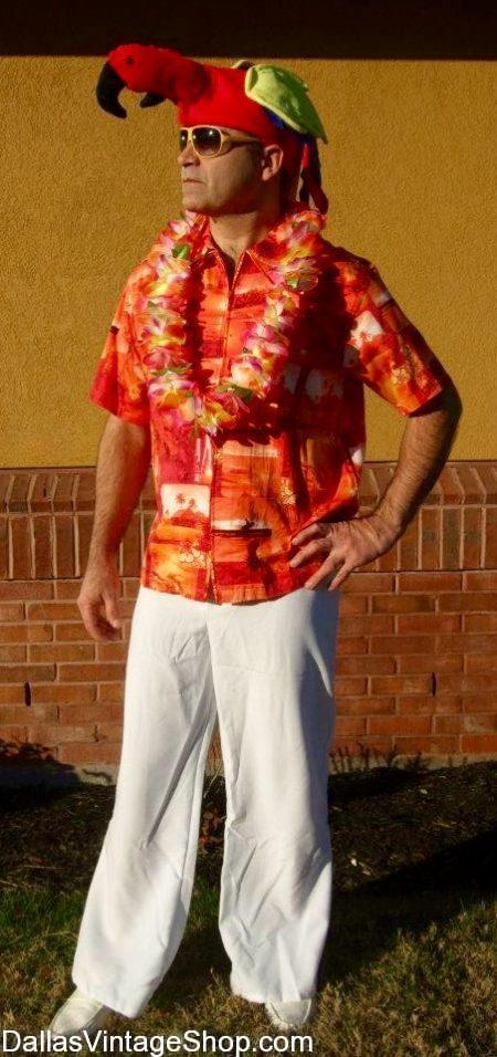 Parrothead Costumes, Parrothead Hats, Parrothead Jimmy Buffett Attire, Tropical Parrothead Gear & Parrothead Concert Outfits are in supply at Dallas Vintage Shop.