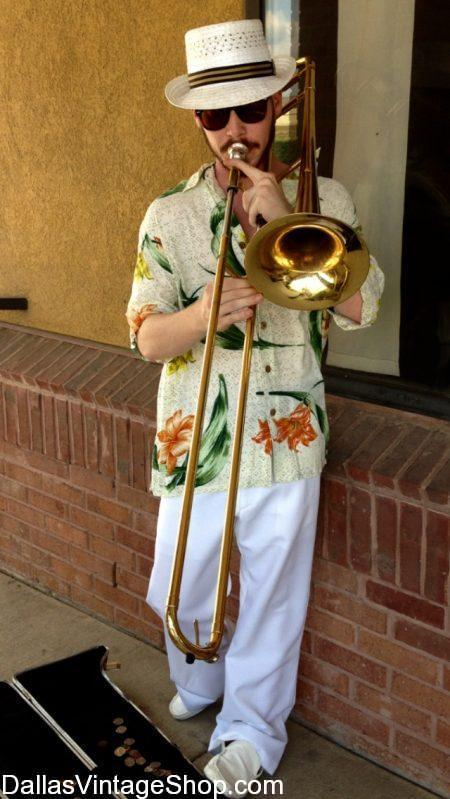 Tropical Men's Attire from Tropical Print Shirts to specific Caribbean Islander Costumes, you will find it here. This Havana, Cuba Tropical Street Musician's Costume and any other Tropical Caribbean Characters from History or Movies are abundant at Dallas Vintage Shop.