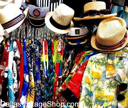 Here are some of Men's Tropical Fashions: Tropical Chic, Tropical Boho, Tropical Vintage, Tropical Flamboyant, Tropical Shirts, Tropical Panama Hats, Tropical Captain Hats & Vintage Tropical Slacks & Shirts at Dallas Vintage Shop.