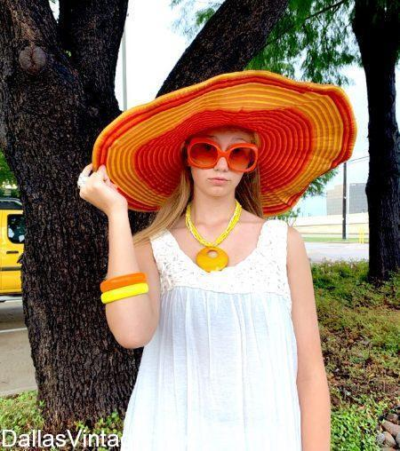 Huge Selection of these Tropical Sun Hats, many colors, large brim, matching Tropical jewelry & sunglasses at Dallas Vintage Shop.