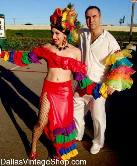 We have this Cuban Rumba Costume, Caribbean Rumba Couples Costumes, Lucy Rumba Outfits & Fruit Hats at Dallas Vintage Shop.