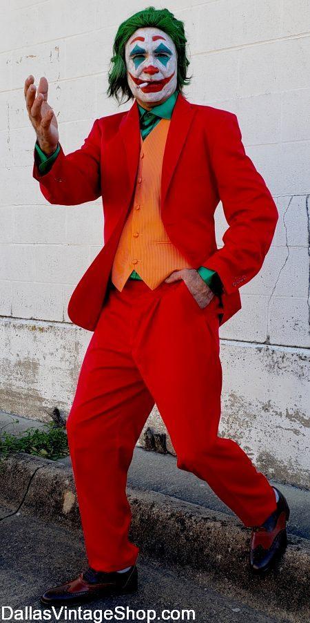 Joker, Joker Movie Costume, Joker Red Suit Costume, Joker Joaquin Phoenix Costume, Joker Makeup & Joker Vests are at Dallas Vintage Shop.