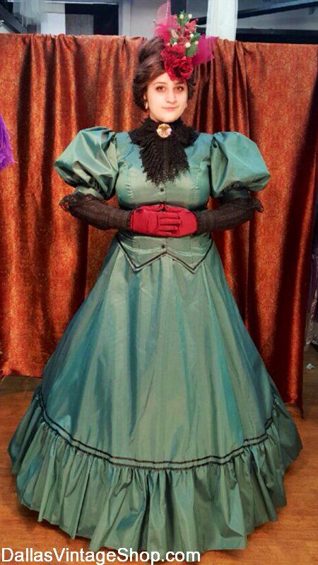 Belle Scrooge Fiancee Costume, Belle Christmas Carol Costume, Ebenezer Scrooge Fiancee Belle Costume, Belle Dickens Scrooge Fiancee Dress, Scrooge's Girlfriend Belle Attire from Dallas Vintage Shop.