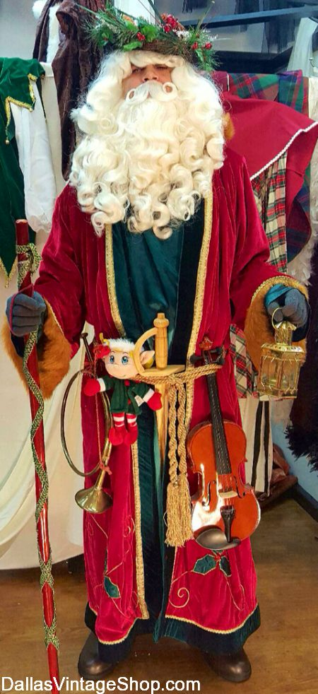 Father Christmas Outfit, Historical Father Christmas, British Father Christmas Costume, Father Christmas Robe & Accessories from Dallas Vintage Shop.