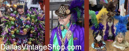 Dallas' largest collection of Mardi Gras Accessories is at Dallas Vintage Shop
