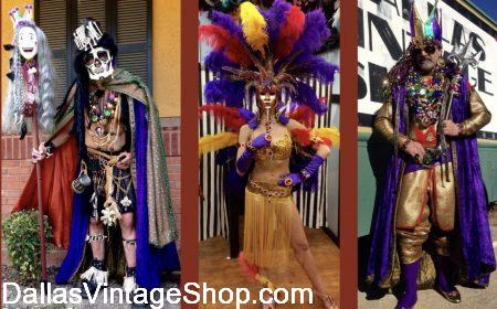 Elaborate Mardi Gras Costumes are in stock at Dallas Vintage Shop