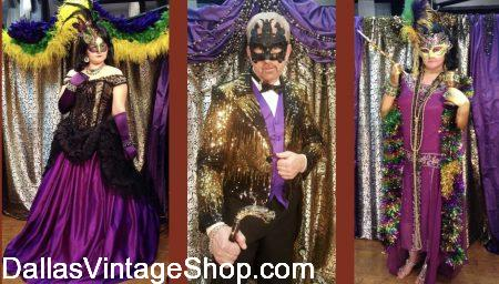 Extravagant & Themed Mardi Gras Costume Ball Outfits are in stock at Dallas Vintage Shop.