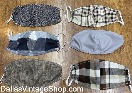 Covid 19 Cloth Masks, Men's Covid 19 Cloth Masks, Covid 19 Fabric Face Masks, Covid 19 Washable Cloth Masks sold at Dallas Vintage Shop.