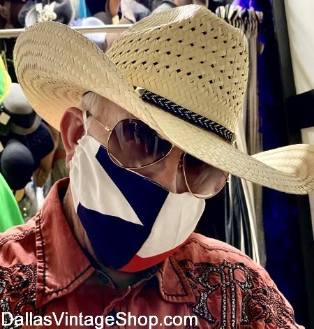 Texas Flag Coronavirus Face Coverings in stock, Covid 19 Texas Cloth Face Masks & Protective Cloth Texas Flag Face Coverings are at Dallas Vintage Shop.