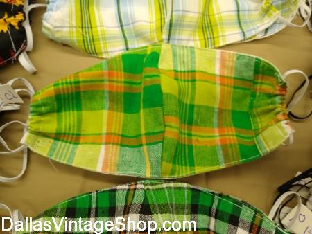 Yellow and Green Plaid face mask