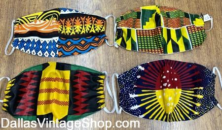African Print Cloth Face Masks, Covid 19 African Print Fabric Masks are at Dallas Vintage Shop.