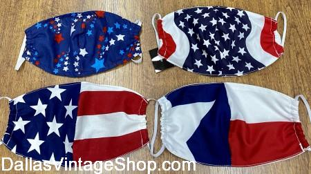 Memorial Day Covid 19 Face Masks, Patriotic Cloth Face Coverings in Stock at Dallas Vintage Shop.