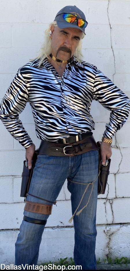 Tiger King Joe Exotic, Tiger King Shirt & Wig, Joe Exotic Gun Belt & Holster from Dallas Vintage Shop.