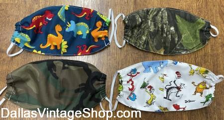 Children's Face Coverings, Covid 19 Kid's Face Masks, Child Size Cloth Face Coverings are in stock now at Dallas Vintage Shop.