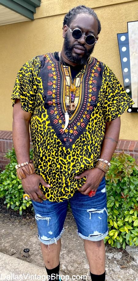 African Print Men's Clothing, Where African Clothing in Dallas Area, Buy African Attire at Dallas Vintage Shop.