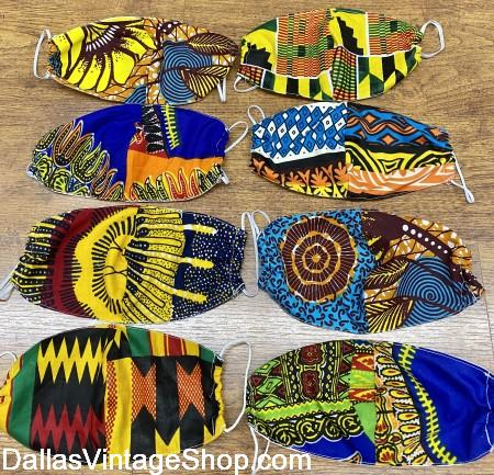African Print Fabric Masks, Juneteenth African Print Masks in huge variety of styles are at Dallas lVintage Shop.