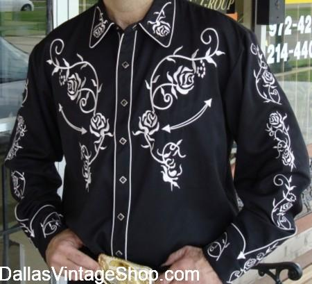 Pearl Snap Western Shirts, Fancy Western Pearl Snap Shirts & Fancy Cowboy Western Shirts are at Dallas Vintage Shop.