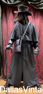 Plague Doctor Cloaks & Robes, Plague Doctor Hats, Plague Doctor Beak Masks come in a variety of styles & prices at Dallas Vintage Shop.