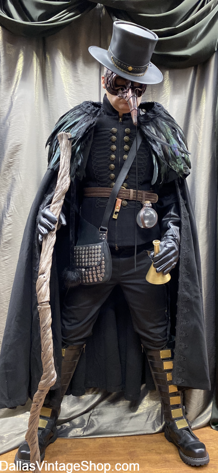 Plague Doctor Outfit, Plague Doctor Steampunk Costume, Deluxe Plague Doctor Costume, Robe, Cloak, Hat, Mask & Accessories are at Dallas Vintage Shop.