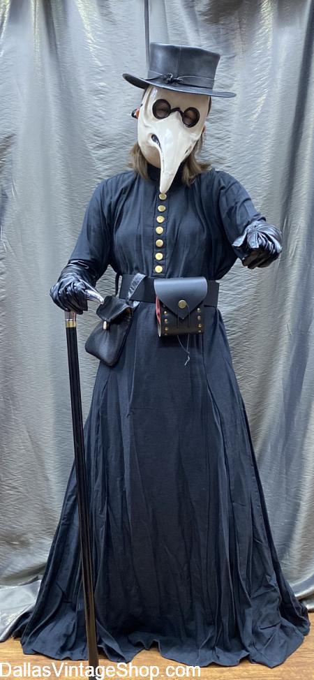 Plague Doctor Costume, Death Doctor Outfits for Men, Ladies or Kids, Death Dr Hats, Death Dr Masks, Death Dr. Robes & other Death Doctor Costume Accessores are at Dallas Vintage Shop.