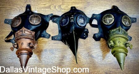 Steampunk Plague Doctor, Plague Doctor Accessories, Plague Doctor Masks, Steampunk Plague Doctor Beak Mask and other Death Doctor Costumes & Accessories are abundant at Dallas Vintage Shop.