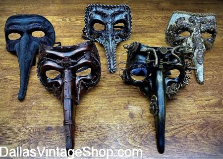 Plague Doctor Beak Masks, Classic Plague Doctor Beak Masks, Medieval Plague Doctor Beak Masks, Plague Doctor Fancy Costumes & Accessories are at Dallas Vintage Shop.