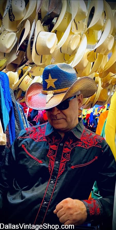 Texas Flag Western Hat, Unlimited Western Hats in stock, Vintage Westery Wear Texas Flag Hat & Clothing in stock at Dallas Vintage Shop.