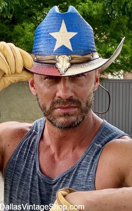 Texas Flag Straw Cowboy Hat at Dallas Vintage Shop.