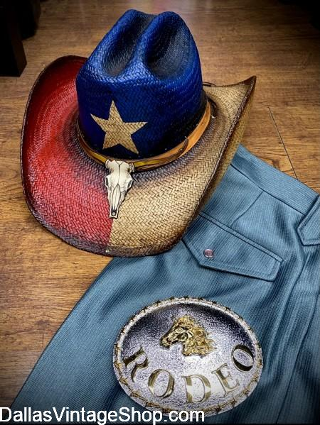 Texas Flag Straw Hat for sale, Lone Star Texas Flag Straw Cowboy Hats in all sizes available now at Dallas Vintage Shop.
