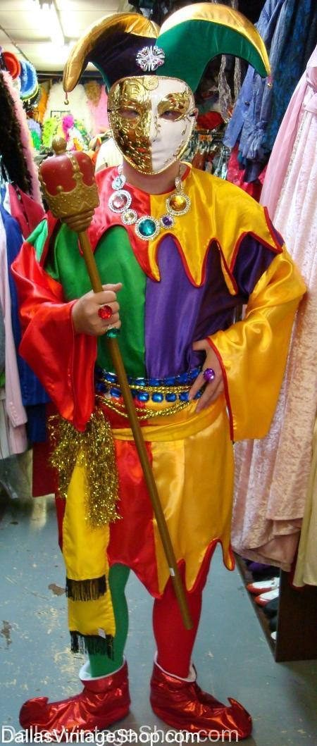 Desoto Costumes, Makeup, Wigs and Period Attare for DeSoto Costume Parties, Masquerade Balls & Theartical Productions are in stock like this Jester Costume shown here., Get Adult or Kids Costumes & Accessories all year round.