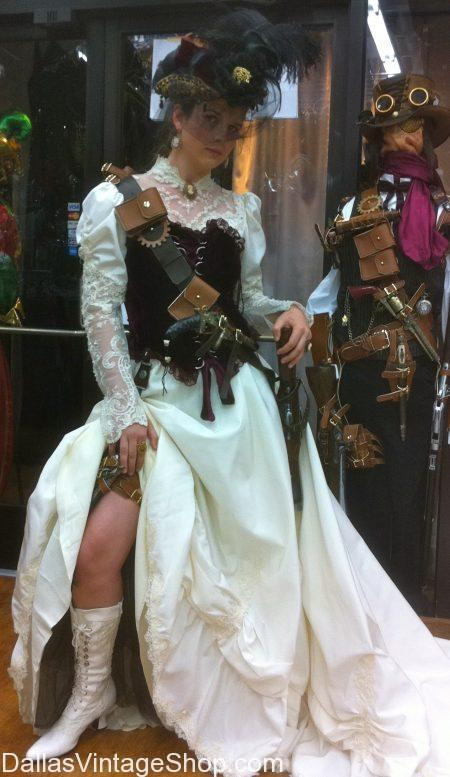 Steampunk Victorian Lady with white dress