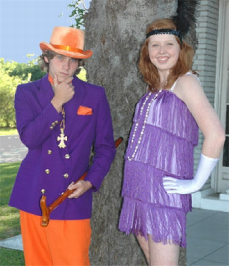 1920's Flapper and Zoot,  1920's Purple Flapper Dress, Prom Flapper & Gangster Costumes, Prom Couple 1920s Costumes, 1920s Purple Gangster & Flapper Outfit