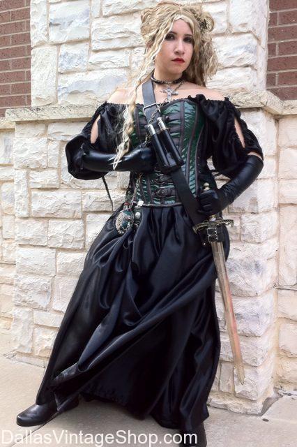 Medieval Fantasy Vampire Slayer, Medieval Corset Dresses, Medieval Corset Costumes, Ladies Medieval Costume Ideas, Ladies Medieval Costumes Dallas