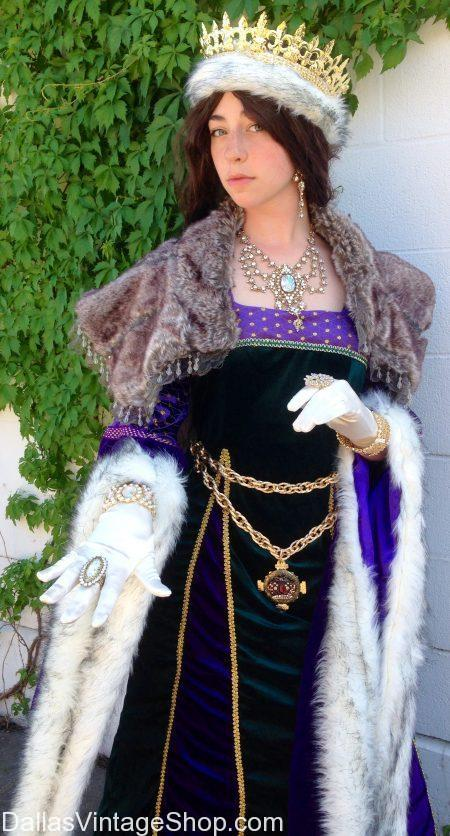 Renaissance Queen Costume, Scarborough Fair Queen Costume, Royalty Costumes Dallas, Renaissance Royalty Costumes Dallas