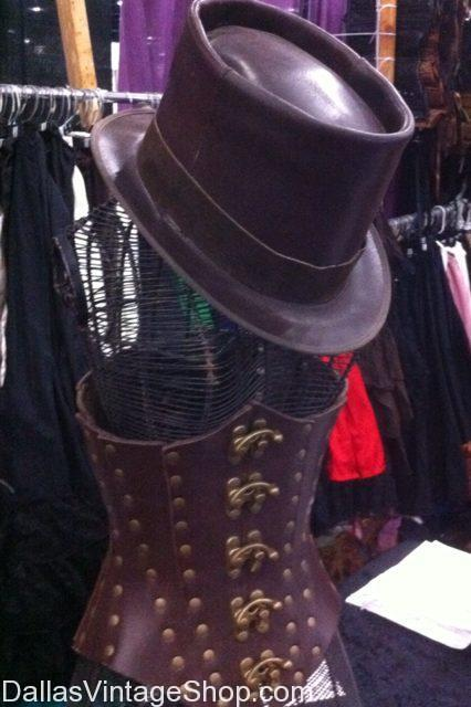 Scarborough Fair Steampunk Costume Ideas, Steampunk Leather Corsets, Steampunk Leather Top Hat, Steampunk Mens Hats, Ladies Leather Corsets